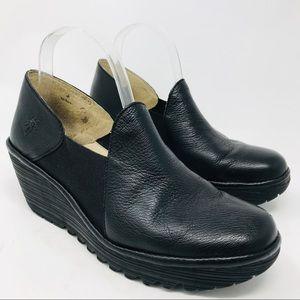Fly London Yua Black Platform Wedge Heels 40